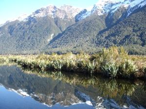 Mirrow Lakes at Milford Sound New Zealand